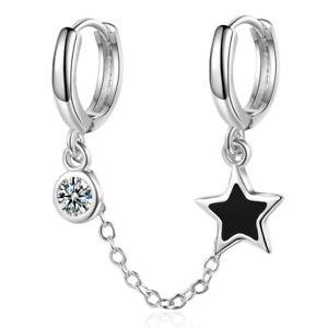 925 Sterling Silver Round Cut Zircon Lovely Star Bar Party Ear Hoop Earring