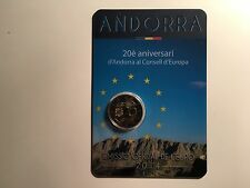2 EURO ANDORRE 2014 20ème ANNIVERSAIRE ENTREE CONSEIL EUROPE COMMEMORATIVE NEUVE
