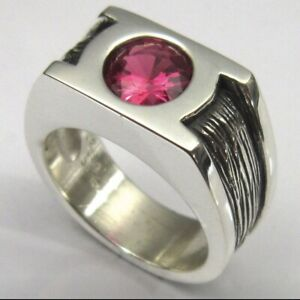 MJG STERLING SILVER MAN'S RING.  8mm FACETED LAB RUBY. SZ 10. 21 GRAMS