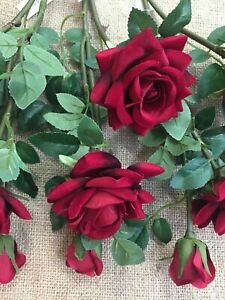 Artificial Flowers : 3 Beautiful Soft Touch Velvet Red Roses Luxury Collection