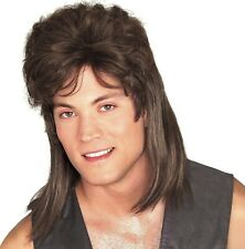 Brown Mullet Wig Adult Mens Long Hair Funny Costume Accessory