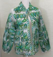 Laura Ashley Jacket Size M Seaside Lime Embroidered Open Lightweight Green Blue