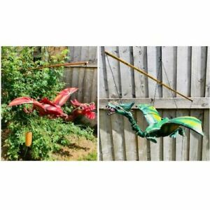Bamboo Flying Dragon Nodding Head in Red or Green - Natural Bamboo And Coconut