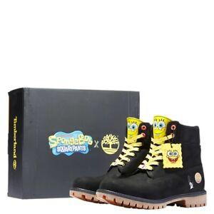 "Timberland X SpongeBob Black Nubuck 6"" Premium Mens 11.5 Boots TB0A22TF Leather"