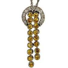 Diamond Necklace 14k Gold And Dangling Yellow Sapphires Antique Diamond Necklace