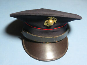 RARE WWII MARINE CAP - NAVY BLUE - RARE ESTATE COLLECTION - 6 3/4
