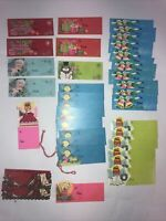 Vintage Christmas Gift Tags Glitter Angels Pink Blue Green Lot