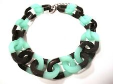 PONO Joan Goodman Paper Link Chain Resin Color Block Necklace NWOT 365  BRN SEA
