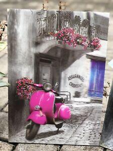 3D Wooden Sign Vintage Wedding Bar Fashion Garage Bike Auto Scooter Pink