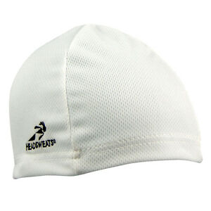WHITE HEADSWEATS COOLMAX SKULL CAP CYCLING HELMET LINER NEW