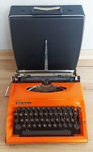 Triumph Contessa de luxe Schreibmaschine mit Koffer Orange 70iger Vintage