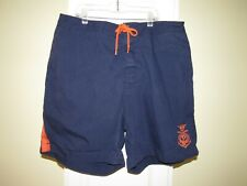 Polo Ralph Lauren Swim Trunks Shorts Blue Orange Marine Supply Mens XL Inseam 6