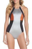 Zella One-Piece Swimsuit Silver / Black Size L Large