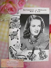 Vintage 1940's Copy Of Felt Craft Pattern For Felt Brooches & Necklaces.