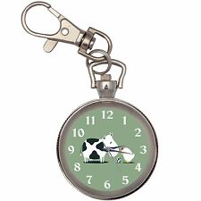 Cow Chicken Egg Silver Key Ring Chain Pocket Watch