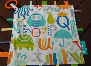 Taggie blanket Jungle animals and alphabet letters - blue dimple minky