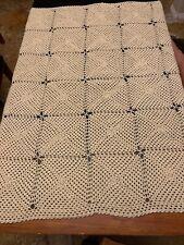 "Handmade Crochet Light Beige  Blanket Afghan size 56""x64"" Free Shipping"
