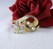 Vintage Crystal AB Rhinestone Flower  Pin Brooch CAT RESCUE