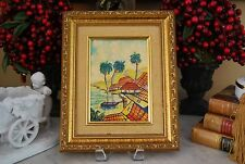 SMALL ORIGINAL OIL PAINTING ON BOARD BY RAMOS OF CARIBBEAN SCENE ON GILDED FRAME