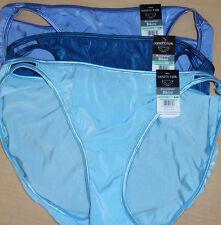 3 Vanity Fair String Bikini Panty Set Nylon Illumination 18108 BLUE 8 XL NWT
