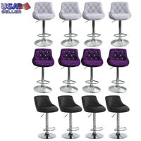 Set of 4 Counter Height PU Leather Bar Stools Adjustable Swivel Pub Bistro Chair