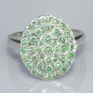 1.7Ct Natural Green Diamond 10K White Gold Ring Color Enhanced RGG63-10-7-3