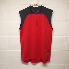 Fox Mens Large Jersey Sleeveless Muscle Shirt Zip Front Back Zip Pocket