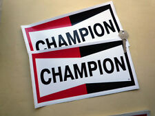 "CHAMPION Spark Plugs Classic Car STICKERS 10"" Pair Race Racing Bike Rally Decals"