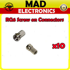 10 x RG6 Coax Cable 75ohm  F Type Screw on Connector Pay TV Digital TV