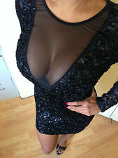 Connie's Black Sequin and Ribbon Cocktail dress With See Thru Mesh Chest S