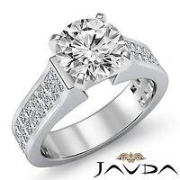 Round Cut Diamond Invisible Set Engagement Ring GIA F VS2 14k White Gold 3.25 ct