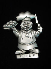 """""""Jj"""" Jonette Jewelry Silver Pewter 'Chef with a Plate of Rolls' Pin"""