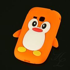 Samsung Galaxy Mini 2 S6500 Silikon Case Handy Schutz Hülle Etui Pinguin Orange