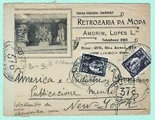 PORTUGAL 1917 Censored CERES Cover LISBOA > N.Y. w/ 2x 2½c FASHION / MODA Advert