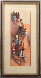 JEFFREY LUNGE American Western Navajo Warrior Indians Watercolor Painting, NR