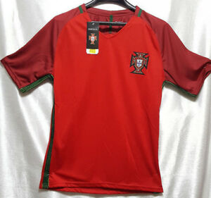 Football Soccer Team Jersey Portugal Red w/ Green Over Black Pin Stripe Accent