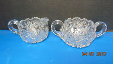 VINTAGE CRYSTAL SUGAR BOWL AND CREAMER SET