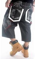 New Mens Black Shorts Embroidery Snake Capri Jeans Denim Hip-Hop Pants  W30-W42
