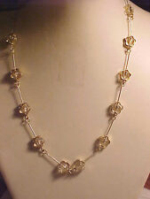 "Glass Bead Flower Necklace Silver Flower Adjustable 16"" to 20"""