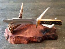 Knife Display Stand Redwood Burl Slab Live Edge And Whitetail Deer Antler Drop