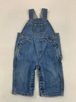 Baby GAP Blue Jean Denim Overalls Size 6-12 Months Gray Jersey Lined