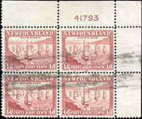 Used Canada Newfoundland 1941-44 Block of 4 F-VF 48c Scott #266 Fleet Stamps