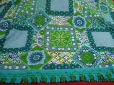 """New/Old BATES MOD Fabric BEDSPREAD Quilt Dual King Turquoise Fringe 116"""" x 120"""""""