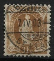 Svizzera - 1882/99 - 3 franchi - Unificato n.80 - usato