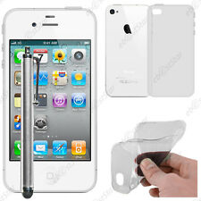 Housse Etui Coque Souple Silicone Gel Transparent Apple iPhone 4S 4 + Stylet
