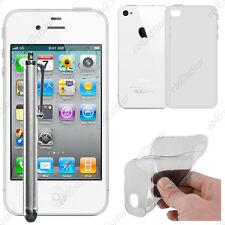 Housse Etui Coque Souple Silicone Gel Transparent Apple iPhone 4S 4 + Stylet