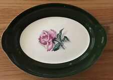"Taylor Smith Oval Dark Green Band Rose Center Platter 13 1/2 "" USA"