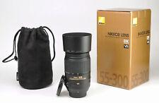 Nikon AF-S 55-300mm F4.5-5.6 G VR Telephoto DX ED AF Zoom Lens + F/R Caps & Hood