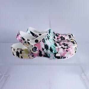 Size 10 Men's Crocs Classic Tie Dye Mania Clogs 206479-928 Multi/White