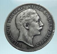 1909 A GERMANY German States PRUSSIA WILHELM II Silver 3 Mark German Coin i78787